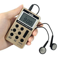 Tivdio Fm/am 2 Band Radio Receiver Mini Pocket+rechargeable Battery&earphone Us