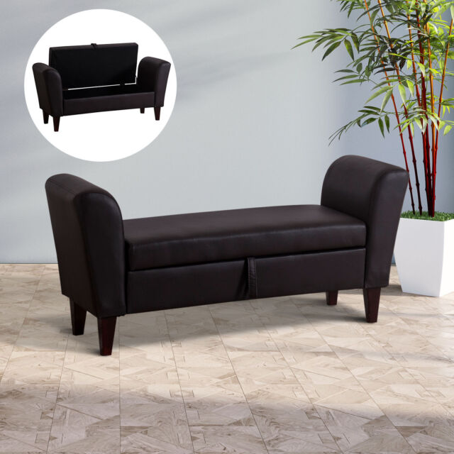 Homcom Pu Leather Storage Bed End Sofa Seat Bench Ottoman Loveseat