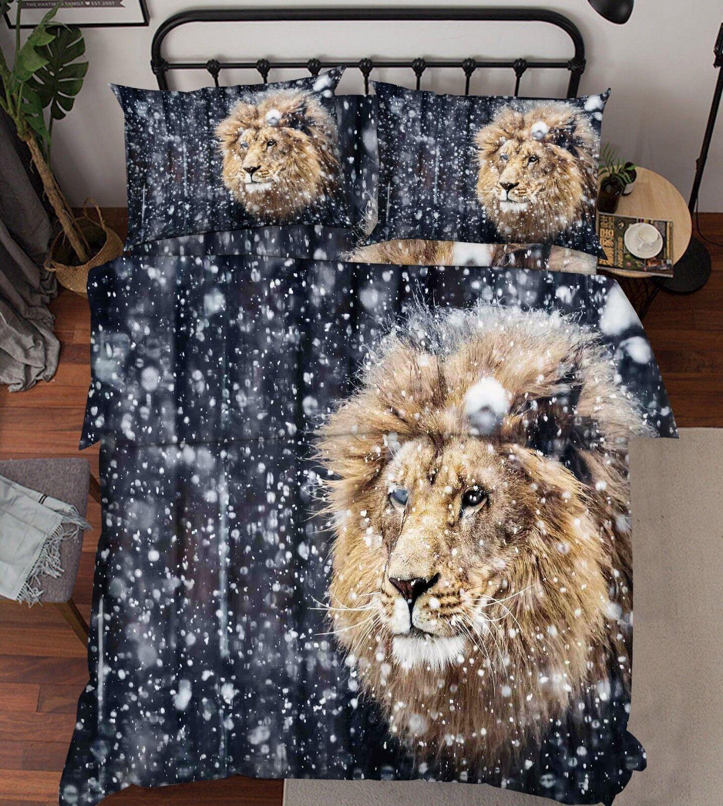 3D Snow Lion Pattern9 Bed Pillowcases Quilt Duvet Cover Set Single Queen King CA