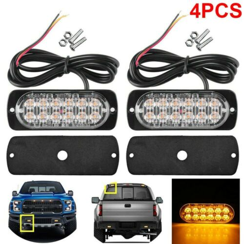 4X 12 LED Amber Car Emergency Flashing Light vehicle Strobe Flash Warning 12//24V