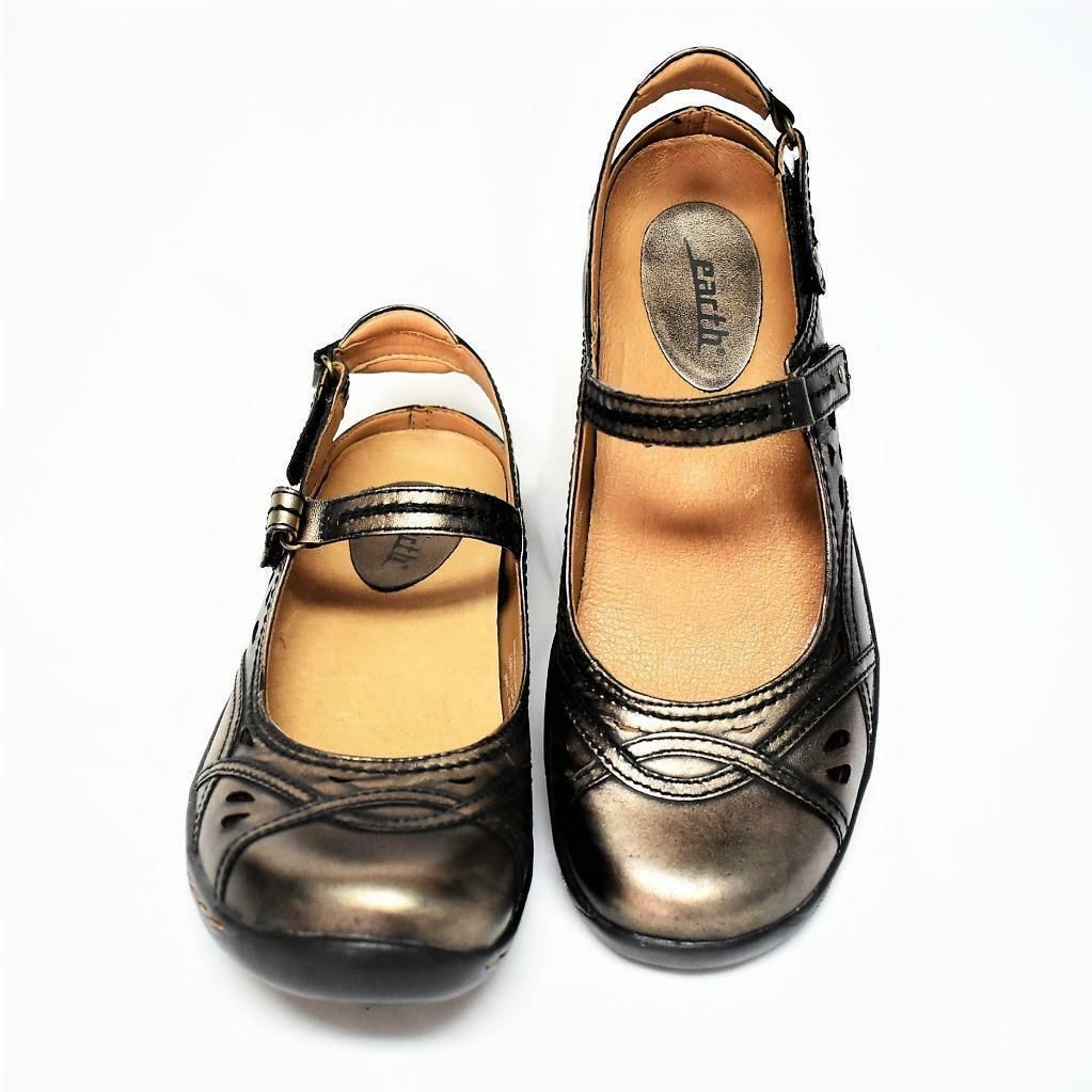 NEW Earth Pagoda Womens 10 M Mary Jane shoes Champagne Leather Open Back Flats