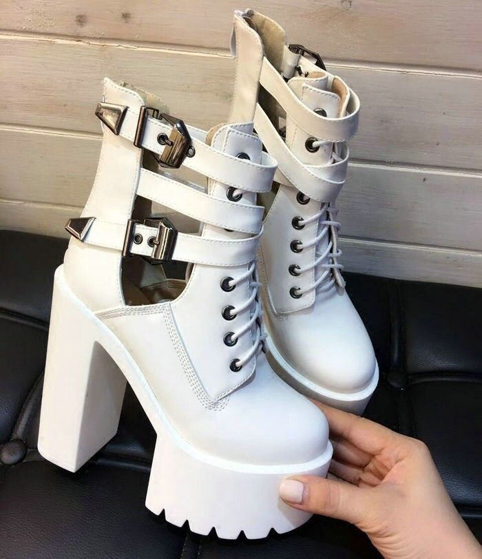 Womens Fashion European style chunky high heels cut out DJ ankle boots shoes 910