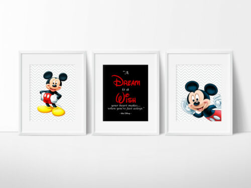 Mickey Mouse Nursery Room Prints Kids wall decor 3 or 4 print sets