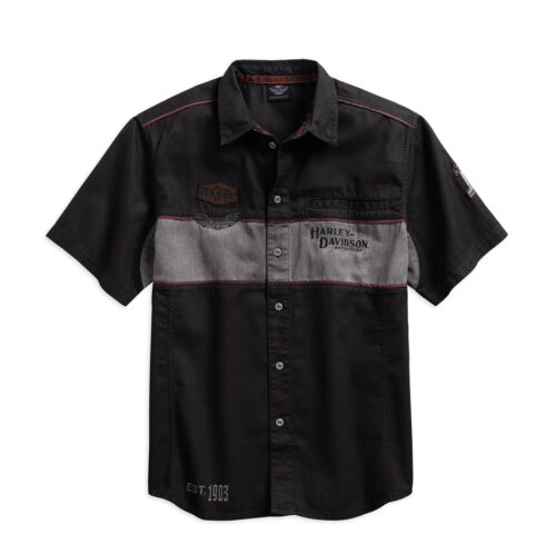 Harley-Davidson Men/'s Iron Bloc Shirt Chemise Taille XXL-Messieurs manches courtes