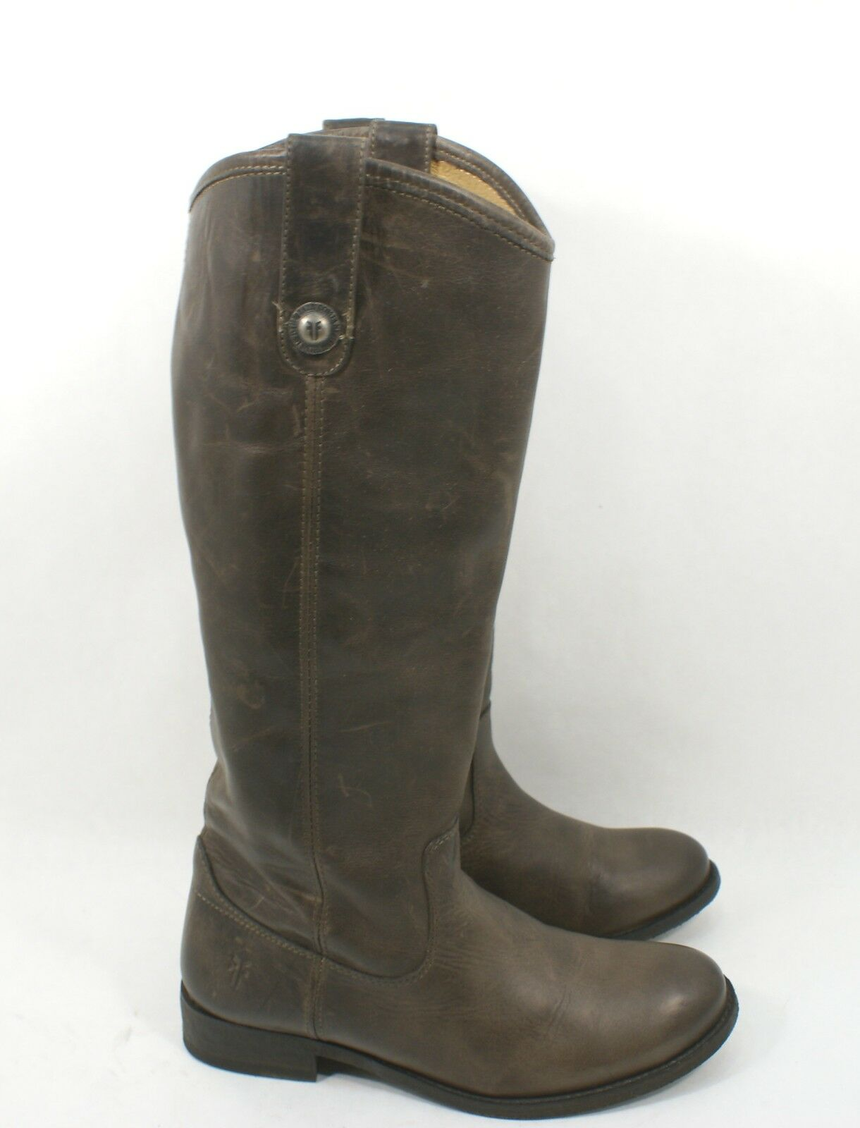 Frye Size 6.5 B  'Melissa Button' Riding Boot Slate Brown Knee High Leather  370