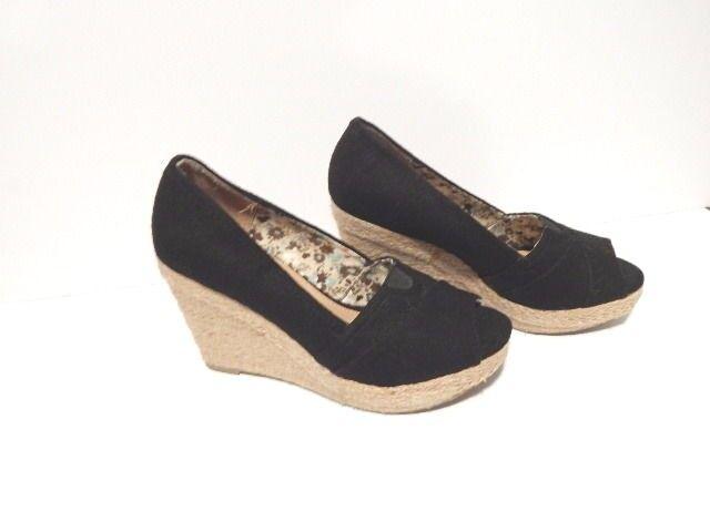 NEW Women SODA Wedge Black Canvas Peeptoe Platform Wedge SODA Dress Sandal Shoes Heel Vegan a41f8c