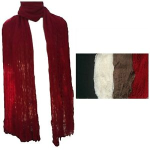 Women-039-s-Handmade-Winter-Crochet-Double-Layer-Fringe-Scarf-One-Size