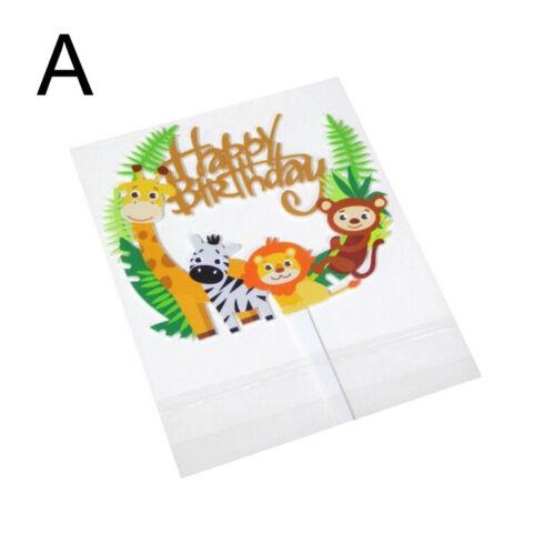 Kid Birthday Lion Acrylic Party DIY Cake Topper Cartoon Safari Baby Shower Zebra