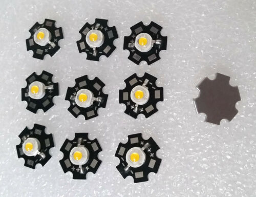 10pcs  5W  Warm white  3-3.6V 1400ma 400-450LM LED Chip with 20mm Star Bead
