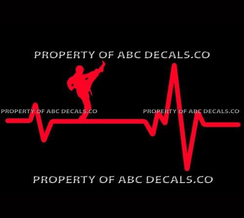 VRS Heart Beat Line KARATE MMA Martial Arts Mix High Front Kick CAR VINYL DECAL