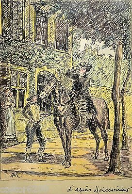 Art Orderly Drawing Ink Inn Traveller Horse D' After Meissonier Sign & Dedication 9 3/8x7 7/