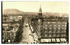 Vintage-postcard-Belfast-From-City-Hall-N-Ireland-tram-cars-W-E-Walton