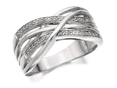10pts Mi Diamantes Mujer señoras de la joyería de plata diamante anillo de banda de cruce