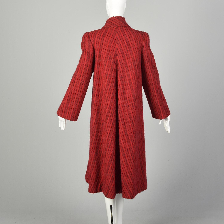 Medium 1980s Pauline Trigere Coat Red Black Strip… - image 3