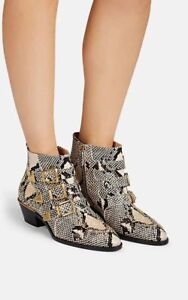 1440-Chloe-NIB-Susanna-Python-Stamped-Buckled-Ankle-Booties-37-5-Eternal-Grey