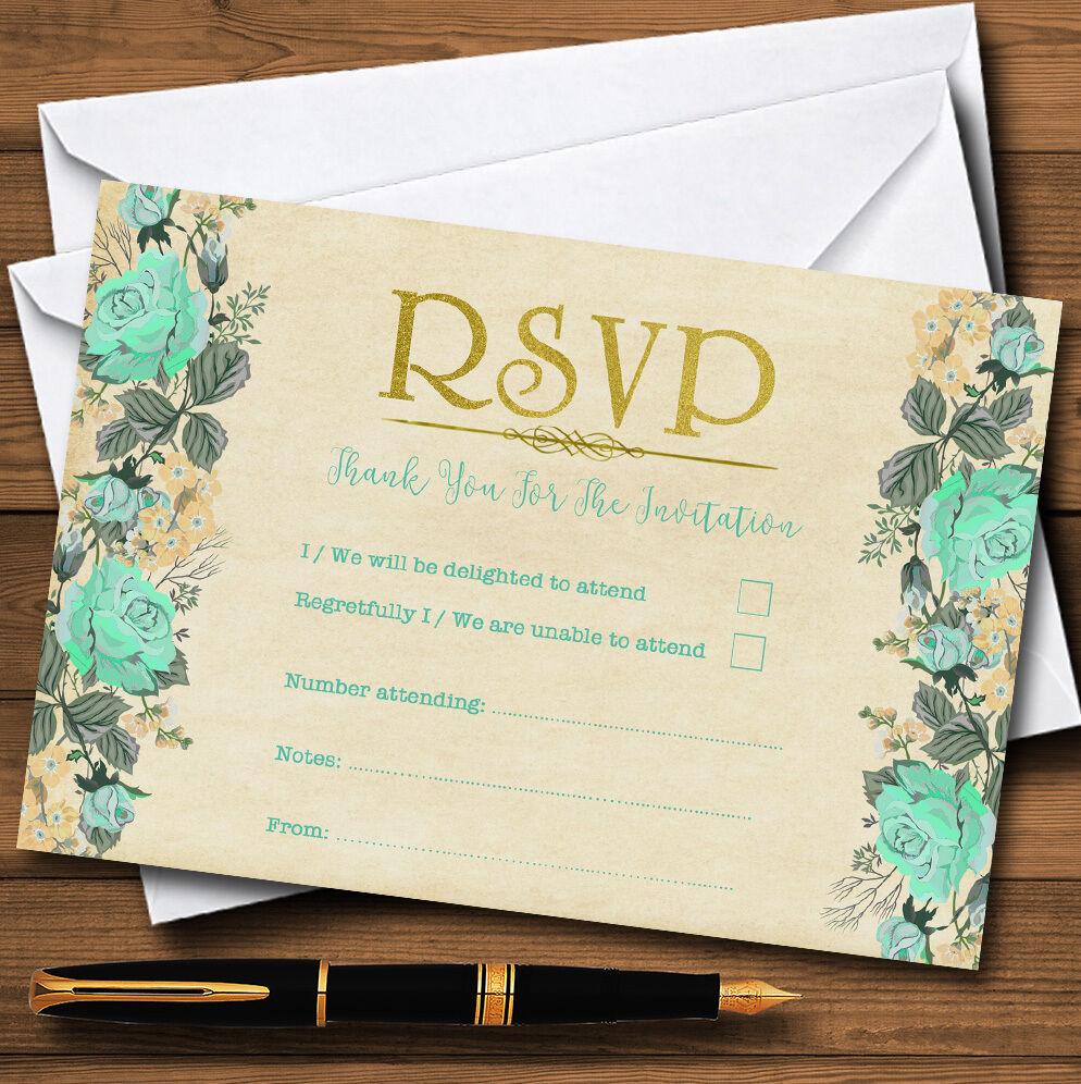 VINTAGE VINTAGE VINTAGE MENTA verde E oro Acquerello Personalizzati RSVP CARDS 317fb4