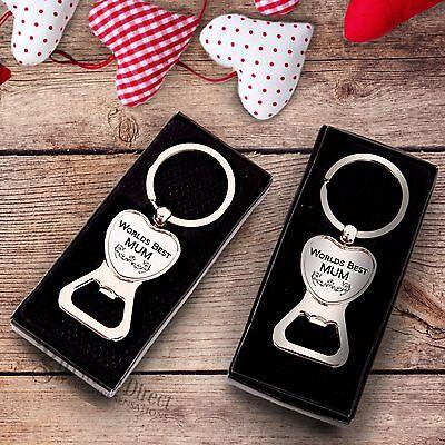 Mothers Day Worlds Best MUM NAN GRANDMA Engraved Keyring Bottle Opener Gift Box