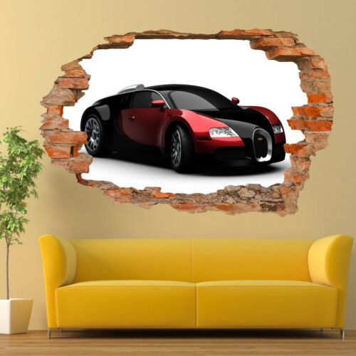 Fast Sport Car Bugatti Pegatinas de Pared 3D Mural de Arte Decoración Póster de oficina de habitación VS2