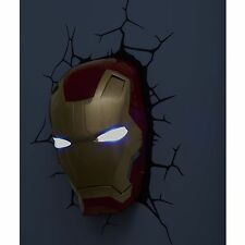 MARVEL IRON MAN 3D LED WALL LIGHT LAMP NEW + STICKERS AVENGERS MASK