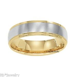 f1edefe5715ae SATIN FINISH 18K TWO TONE GOLD MENS WEDDING BANDS WHITE   YELLOW ...