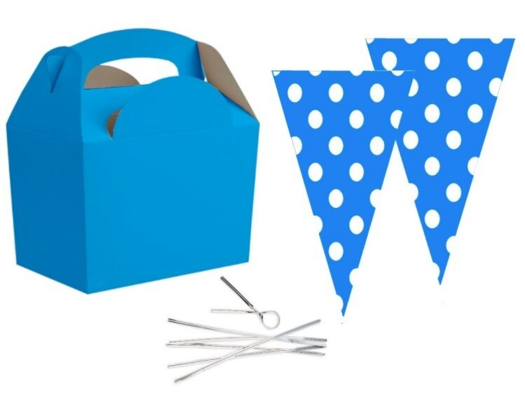 Bright bluee Party Food Boxes With Spotty bluee Cone Sweet Loot Favour Bags & Tie