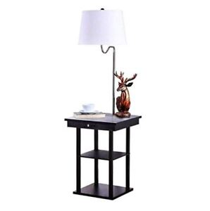 Rack End Table Floor Lamp Attached