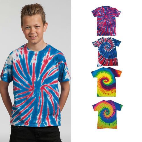 Colortone Kids Tie-Dye Crew Neck Tee TD02B Colorful Cotton Short Sleeve T-Shirt