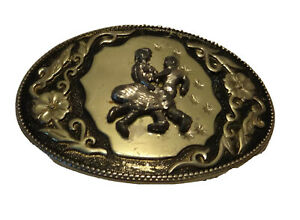 VINTAGE SQUARE DANCING WESTERN BELT BUCKLE SQUARE DANCE BEAUTIFUL ACCENTS E5