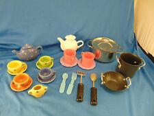Vintage tea set ceramic 23 pcs metal pot plastic tea pot wok stock utencils play