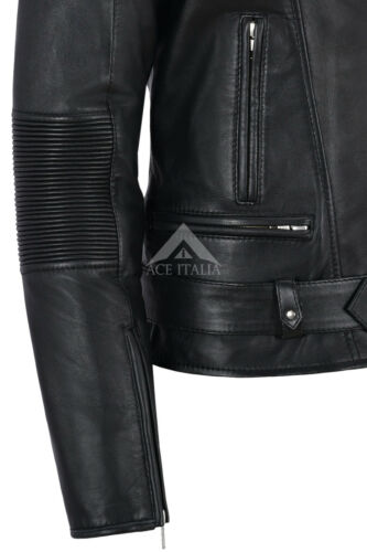 Biker Leather Style Real Women Shoulder Jacket Charlie Lambskin Black Quilted vF5qO0