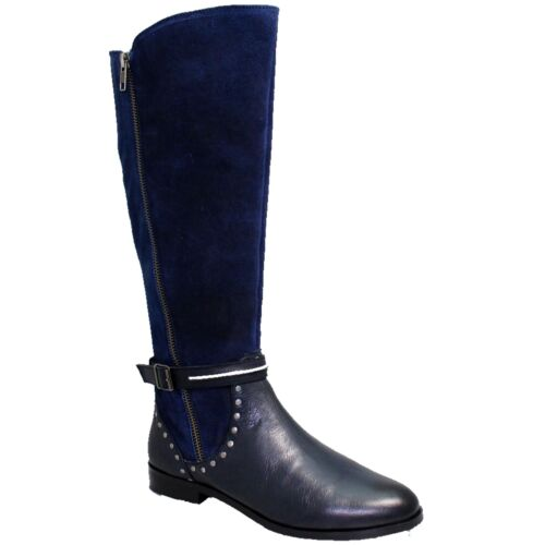 GLH528 Andros Real Leather Side Zip Low Heel Padded Insole Stud Long Boots