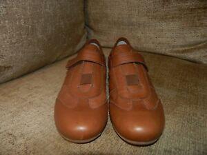 Damen-Leder-fertiger-braun-Atmungsaktiv-Komfort-Schuhe-uk5-eur38-VG-cond