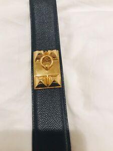 Authentic-Hermes-Collier-de-Chien-Belt-Navy-Caviar-With-Gold-Hardware