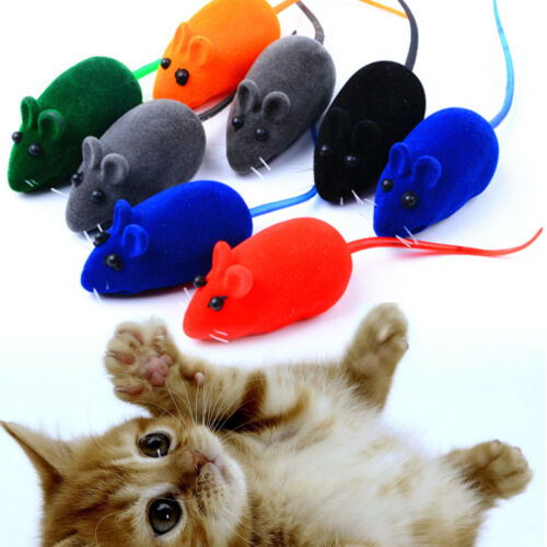 10Pcs//lot Colorful Soft False Mouse Cat Toys Feather Funny Playing Pets Toy Gift
