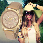 Fashion Womens Watch Geneva Roman Numerals Leather Band Analog Quartz Wristwatch