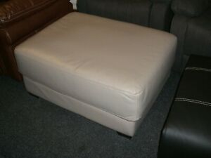 Large-leather-footstool-Silver-Grey-with-chrome-effect-feet-fs65
