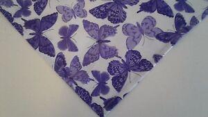 Dog-Bandana-Scarf-Purple-Tie-On-Butterflies-Custom-Made-by-Linda-Xs-S-M-L-xL