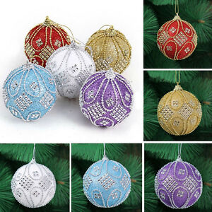 Christmas-Rhinestone-Glitter-Baubles-Ball-Xmas-Tree-Ornament-Decoration-8CM