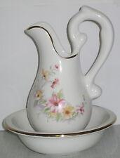 kleines Wasch Set mit Blumendekor, aus Porzellan, Art-Miniatur, Höhe 20cm