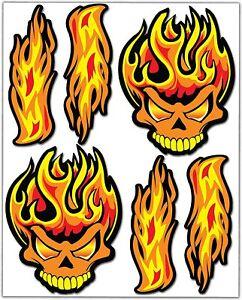 6-AUTOCOLLANT-PVC-feu-crane-flammes-phrase-Voiture-Moto-Moto-Vinyle-Stickers-Set