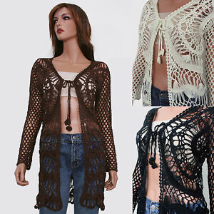 Ivory-Brown-Black-Long-Sleeve-Crochet-Knit-Cardigan-Sweater-Top-Blouse-S-M-M-L