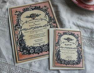 Image Is Loading WEDDING INVITATION RSVP CARD Vintage Style Perfume Label