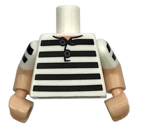 LEGO NEW MINIFIGURE STRIPES JAIL BREAK BLACK AND WHITE TORSO SHIRT PIECE