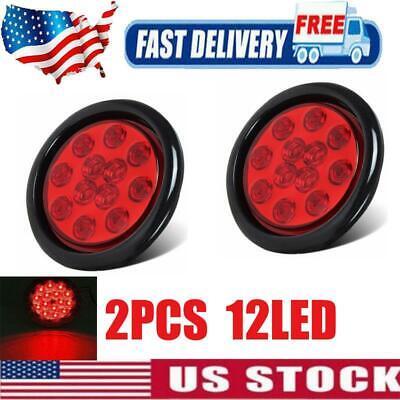2X LED Car Truck Amber Lens Tail Brake Light Surface Side Step Marker Universal