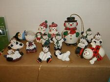 SNOWMAN LOT~18 PIECE~VINTAGE TO NOW~ NIP, USED~ BLOWN GLASS, BELL,ORNAMENTS,MORE