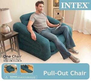 Chair-Bed-Folding-Convertible-Flip-Sleeper-Game-Lounger-Mattress-Ocean-Blue-GIFT