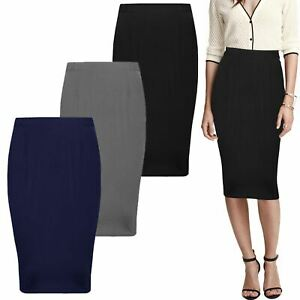 4fc22aa14 NEW WOMENS LADIES PENCIL SKIRT OFFICE SCHOOL LINING MIDI DRESS HALF ...