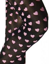 Pink Heart Print Ladies Tights 10-14 NEW. 50s retro 80s love opaque black