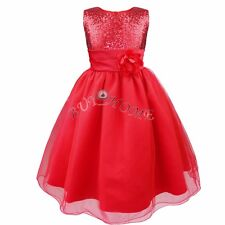 cf313067bc8 Girls Kids Glitter Sequin Wedding Flower Girl Dress Pageant Prom Party Ball  Gown