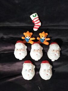 8-Pc-Lot-Vintage-Plastic-Blow-Mold-Christmas-Light-Toppers